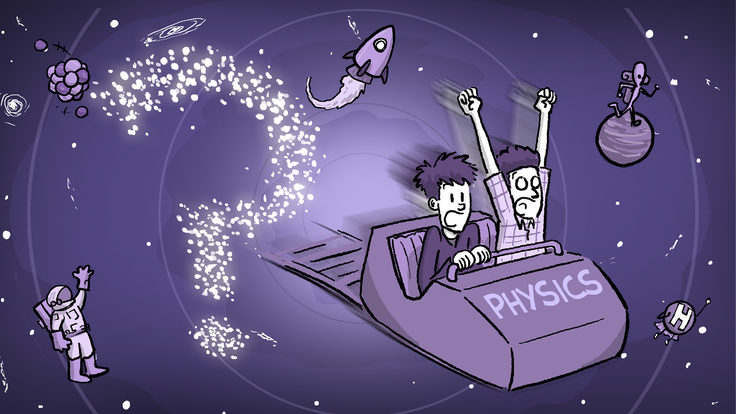Illustration of two men in detached roller coaster car flying through space
