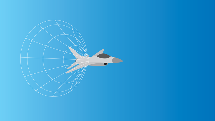 Illustration of a jet breaking the sound barrier