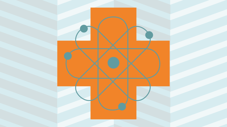 Blue and white zig zag strip background with orange plus sign in the center with teal green atom symbol on top