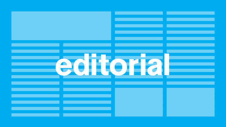 "Illustration blue background, white letters ""editorial"""