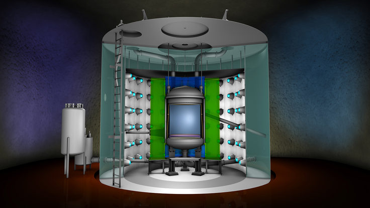 Illustration of a cut-away view of the inside of the LZ detector