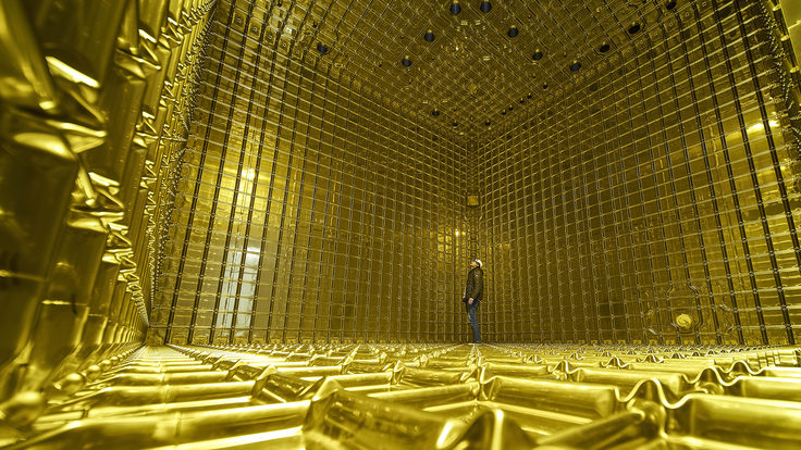 A person stands inside the ProtoDUNE detector, dwarfed by the empty space. The walls, floor, and ceiling are golden.