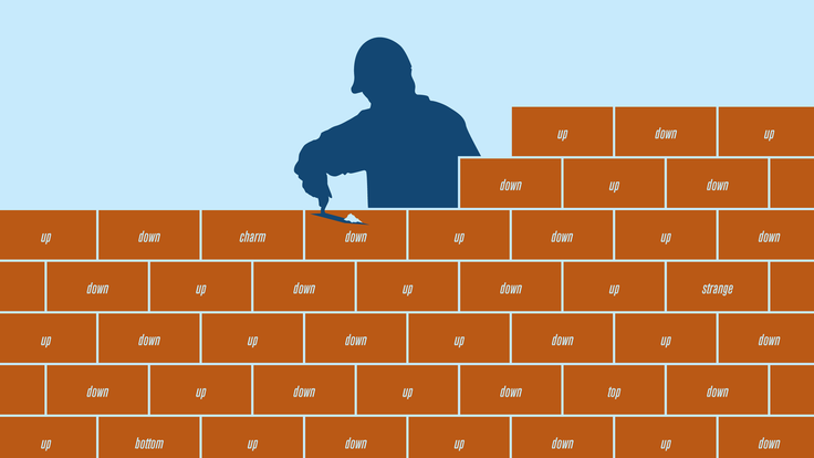 An illustration of a brick wall being constructed