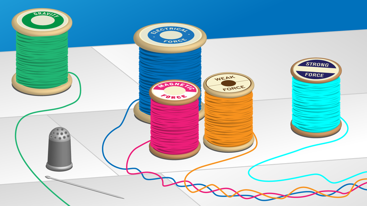 Illustration of 5 spools of thread and thimble