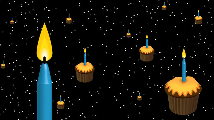 Illustration of cupcakes with candles in them in space