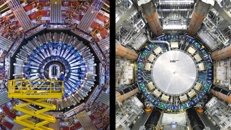 Photos in split screen shows the CMS and ATLAS detectors at CERN