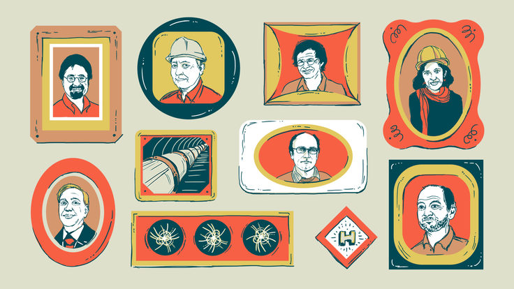 Illustration of portraits on wall of Fundamental Physics Prize recognizes Higgs hunters